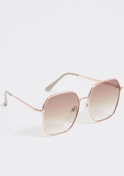 gold oversized round sunglasses - Main Image