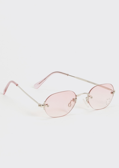 pink frameless rhinestone sunglasses - Main Image