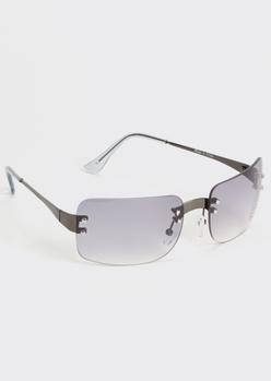 gray frameless monochrome sunglasses - Main Image