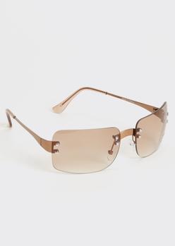 brown frameless monochrome sunglasses - Main Image
