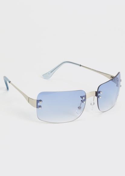 blue frameless monochrome sunglasses - Main Image