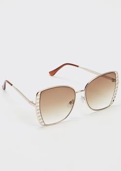 gold pearl lined lense sunglasses - Main Image