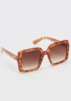 tortoise print oversized matte square sunglasses - Main Image