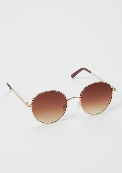 brown twist round sunglasses - Main Image