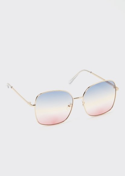 gold sunrise ombre square sunglasses - Main Image