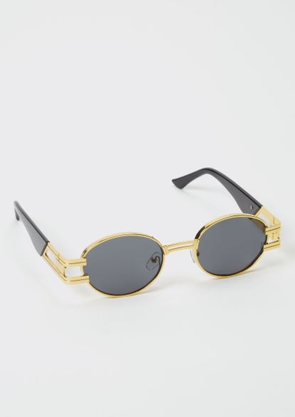 gold thick frame micro round sunglasses - Main Image