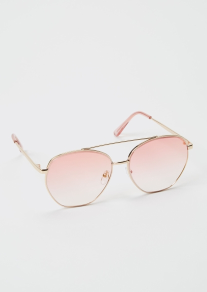 pink ombre aviator sunglasses - Main Image