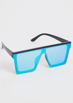 blue mirrored flat brow shield sunglasses - Main Image