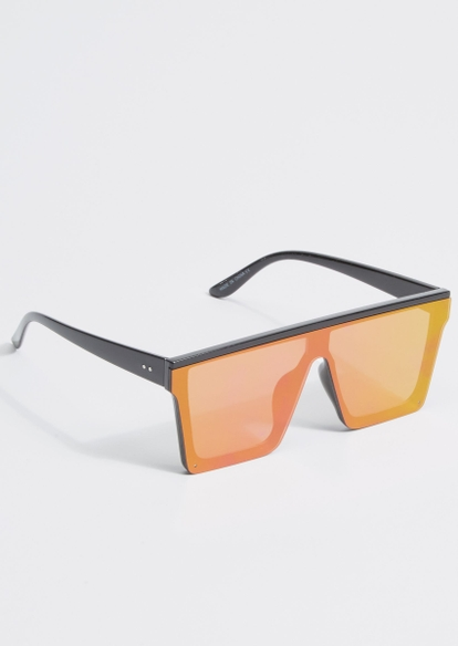 fuchsia mirrored flat brow shield sunglasses - Main Image