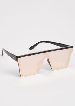 rose gold mirrored flat brow shield sunglasses - Main Image