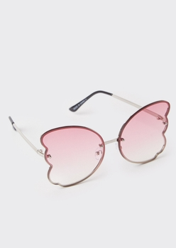 pink butterfly lens sunglasses - Main Image