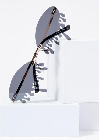 black drip oval lens sunglasses - Main Image