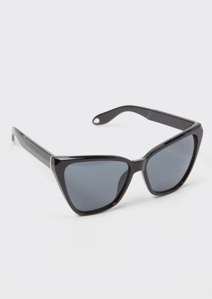 black geo cat eye sunglasses - Main Image