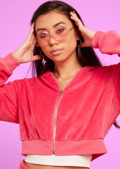 pink y2k square lense sunglasses - Main Image