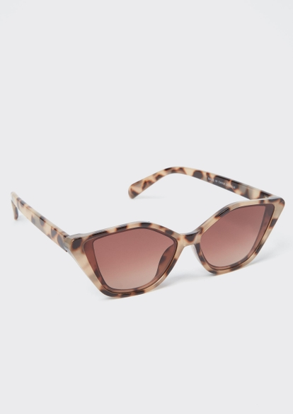 tortoise angled cat eye sunglasses - Main Image