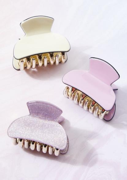 3-pack pastel mini claw hair clip set - Main Image