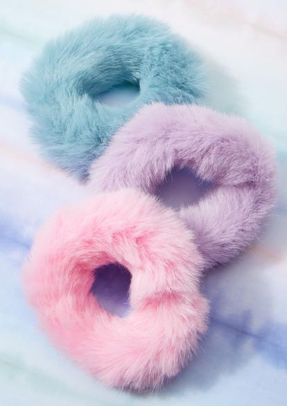 3-pack pastel faux fur scrunchies - Main Image