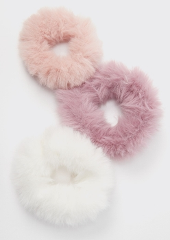 3-pack pink faux fur scrunchie set - Main Image