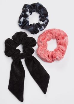 3-pack corduroy satin scrunchie set - Main Image
