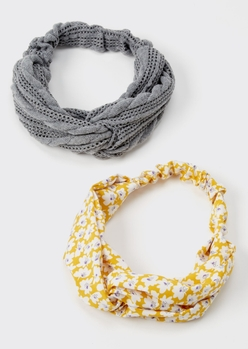 2-pack yellow floral print sweater headband set - Main Image