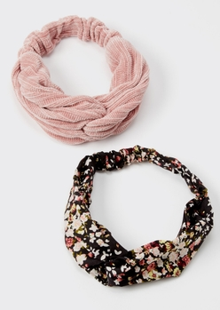 2-pack pink floral print sweater headband set - Main Image