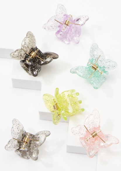 6-pack glitter acrylic butterfly hair clips - Main Image