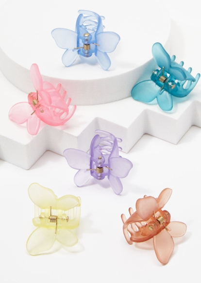 6-pack pastel matte butterfly hair clips - Main Image