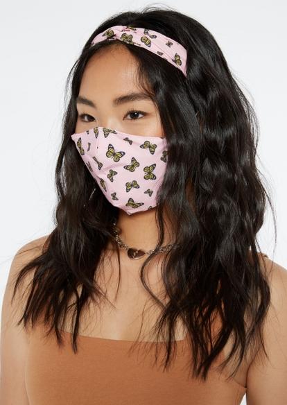 pink butterfly print mask and headband set - Main Image