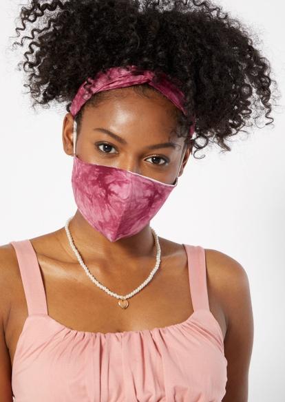 burgundy tie dye print mask and headband set - Main Image