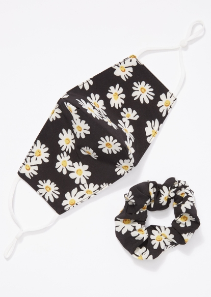 black daisy print mask and scrunchie set - Main Image