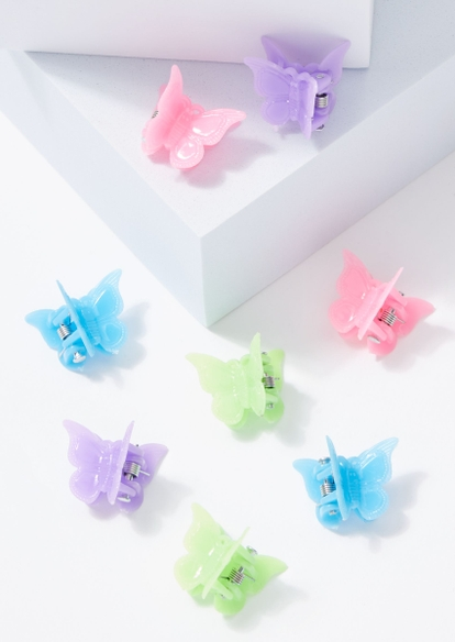 8-pack pastel matte butterfly hair clips - Main Image