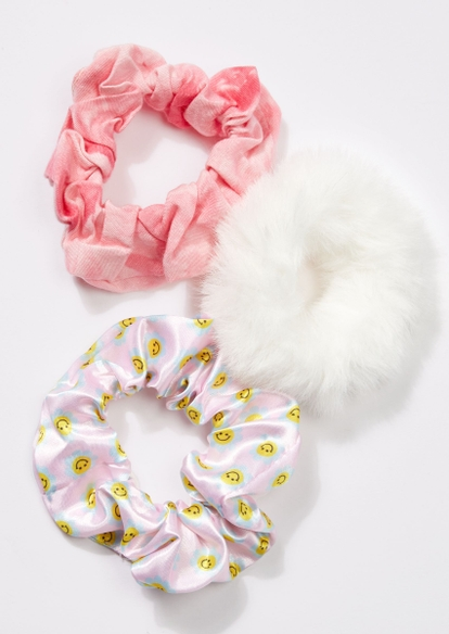 3-pack pink smiley face daisy scrunchie set - Main Image
