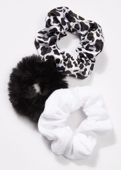 3-pack black cow print scrunchie set - Main Image
