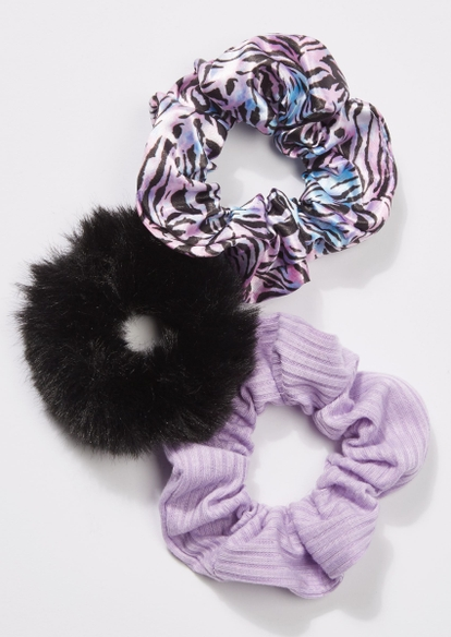 3-pack purple zebra print scrunchie set - Main Image