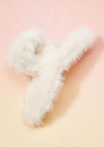 white fur claw hair clip - Main Image