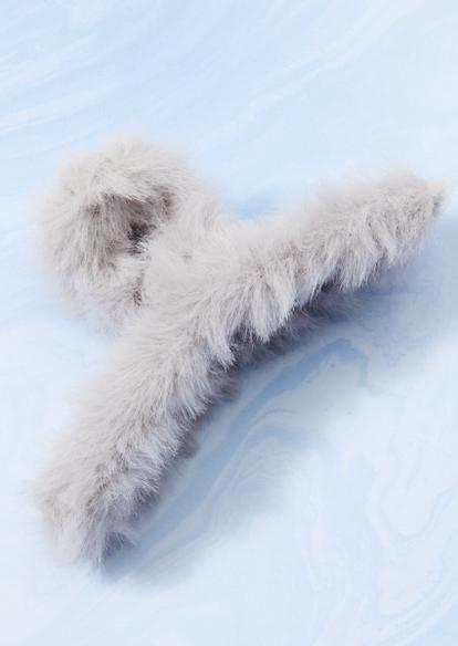 gray faux fur claw hair clip - Main Image