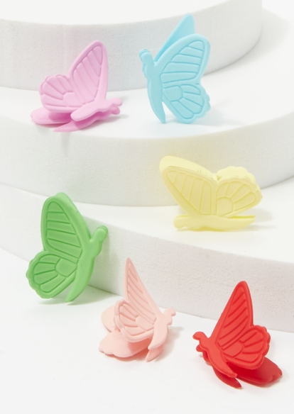 6-pack bright matte butterfly hair clips - Main Image