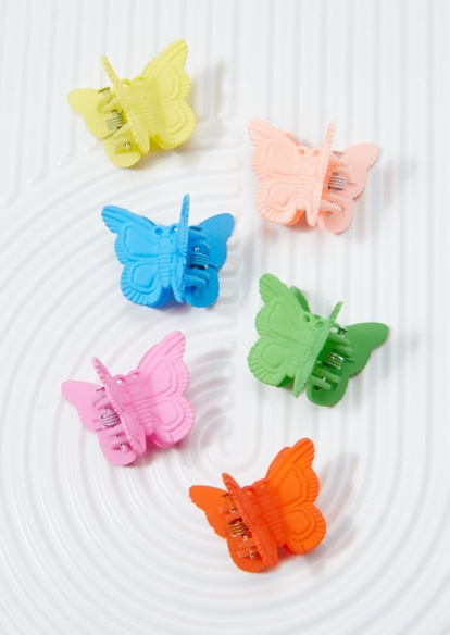 6-pack rainbow matte butterfly clips - Main Image