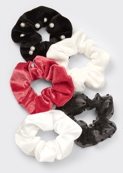 5-pack red swiss dot pearl scrunchie set - Main Image