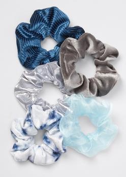 5-pack blue chiffon tie dye scrunchie set - Main Image