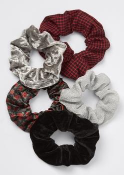 5-pack red plaid rose velvet scrunchie set - Main Image
