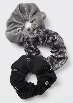 3-pack black chain print scrunchie set - Main Image