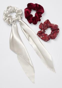 3-pack burgundy silky velvet floral scarf pony scrunchie set - Main Image