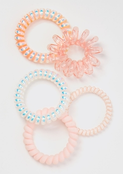 5-pack pink shine coil hair ties - Main Image
