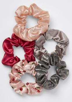 5-pack pink cherry velvet sparkle scrunchie set - Main Image