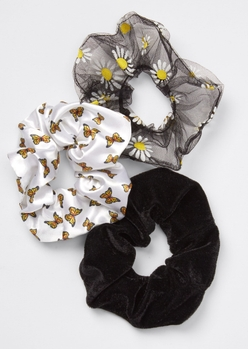 3-pack butterfly daisy print scrunchie set - Main Image