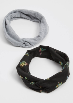 2-pack black butterfly print head wraps - Main Image
