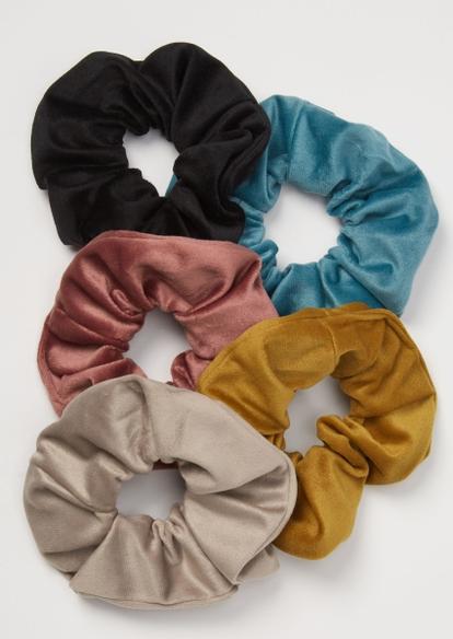 5-pack dusty tone velvet scrunchie set - Main Image