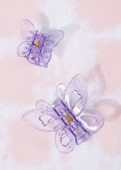 2-pack glittery purple butterfly clip set - Main Image