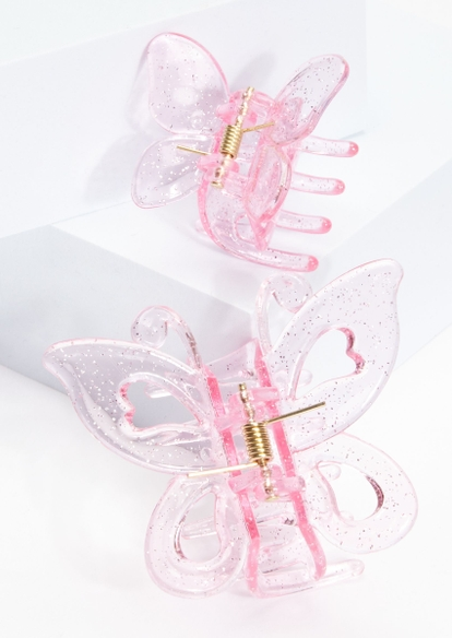 2-pack glittery pink butterfly clip set - Main Image